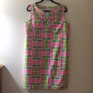 Talbots green/pink straight summer dress